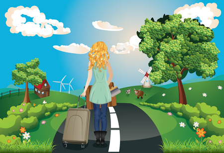 rural road: Summer green rural landscape with a road, trees and girl tourist illustration. Illustration
