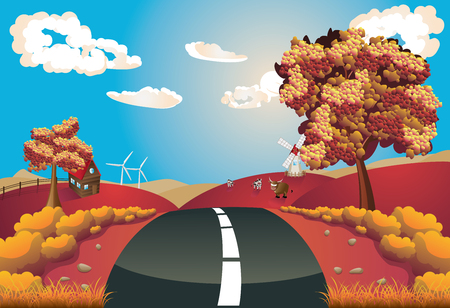 road autumnal: Autumn rural landscape with a road and trees illustration. Illustration