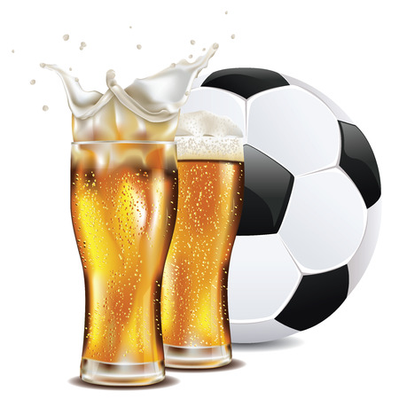 Glass of beer and soccer (football) ball illustration.