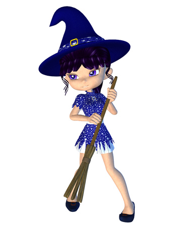 Digitally rendered image of a cute cartoon witch with broom.