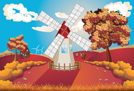 Autumn rural landscape with windmill and trees illustration. Vector