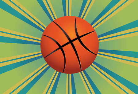 Colorful background with rays and basketball ball over it. Vector
