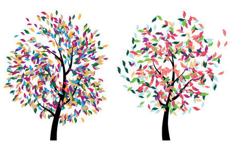 leafage: Stylized colorful tree with abstract leaves illustration. Illustration