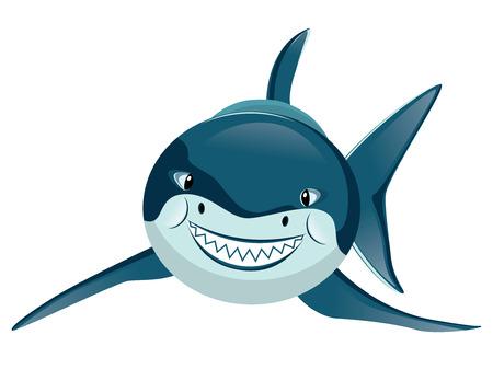 squalo bianco: Cartoon grande squalo bianco con grandi denti.