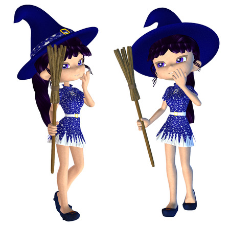 yong: Digitally rendered image of a cute cartoon witch with broom.