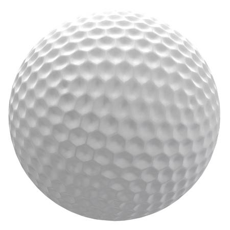 Digitaal teruggegeven illustratie van een golfbal op een witte achtergrond. Stockfoto