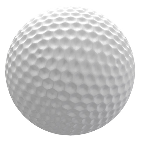 Digitally rendered illustration of a golf ball on white background. Stock Photo