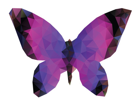 Abstract colorful polygonal butterfly on white background. Vector