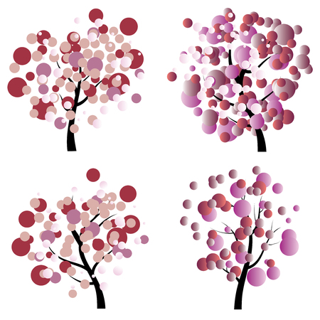 colorful tree: Stylized colorful tree with abstract leaves illustration. Illustration