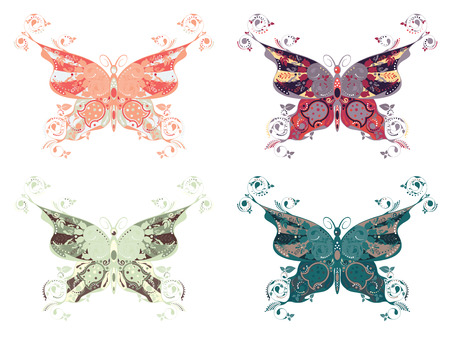 Set of abstract multicolored butterflies on white background. Vector