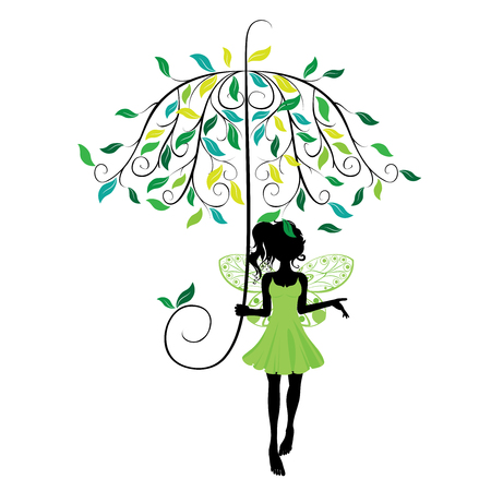 fairy silhouette: Abstract fairy silhouette with decorative floral umbrella.