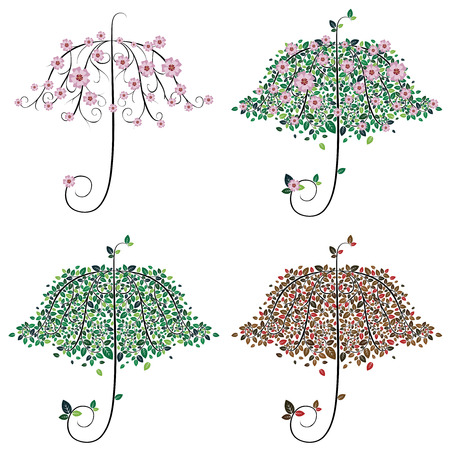 Decorative tree in shape of umbrella with colorful leaves. Vector