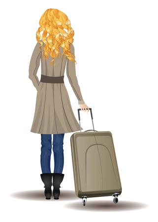 llegar tarde: Vista posterior de la mujer rubia con la maleta en el fondo blanco. Vectores