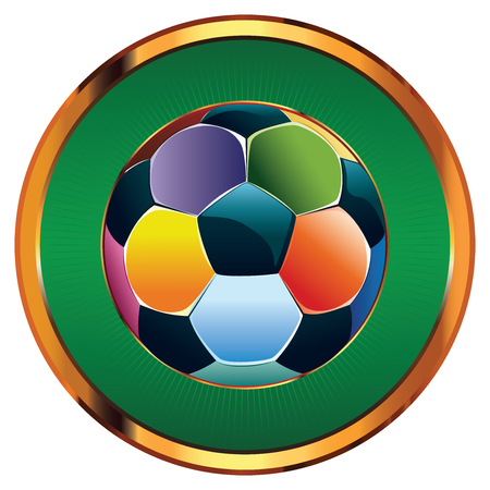 Multicolored soccer (football) ball icon on white background. Vector