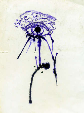 abstractive: Grunge abstractive eye illustration made with ink.