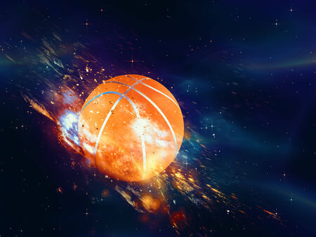 Purple space background with basketball ball, explosion effect. photo
