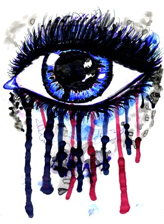 intense: Abstractive illustration of an eye splashing, watercolor and ink.