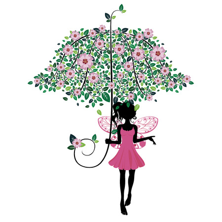 Abstract fairy silhouette with decorative floral umbrella. Vector