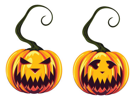 Halloween pumpkins with scary faces on white background. Vector