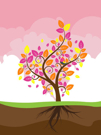 Abstract stylized tree with colorful leaves for season of autumn. Vector
