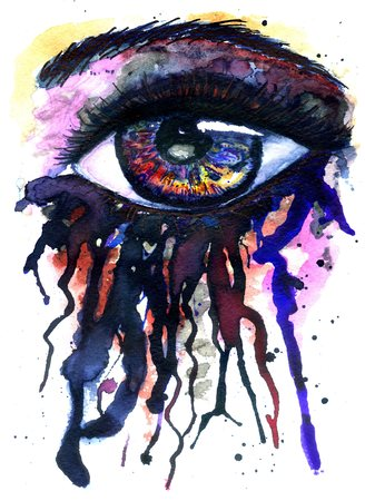 abstractive: Abstractive illustration of an eye splashing, watercolor and ink.