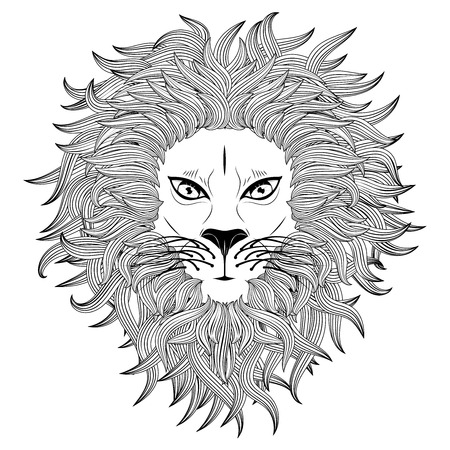 lurk: Grunge illustration of a male lion face on white background.