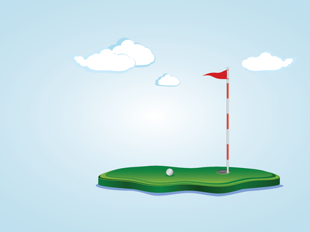 Stylized golf yard illustration, ball, flagstick and hole based on a little piece of ground. Illustration