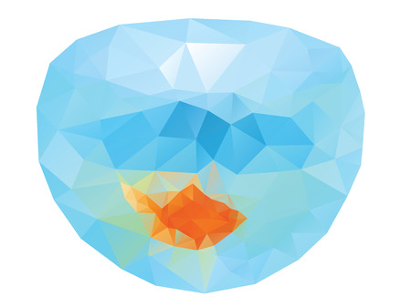 gold fish: Abstract bright polygonal gold fish on white background.