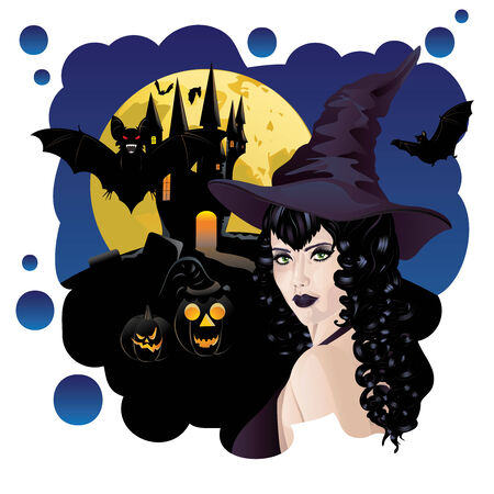 witchery: Halloween background with black haired witch, castle and bats silhouettes. Illustration