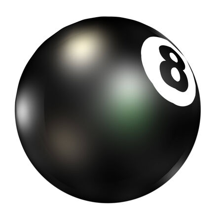 Digitally rendered illustration of a magic eight ball on white background. illustration