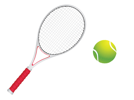Colorful background with rays and tennis ball with racket over it.