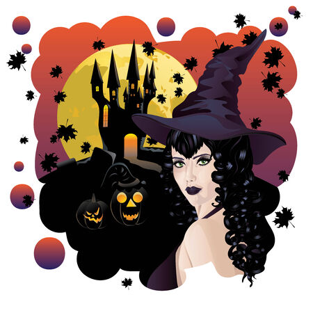 sibyl: Halloween background with black haired witch, castle and bats silhouettes. Illustration
