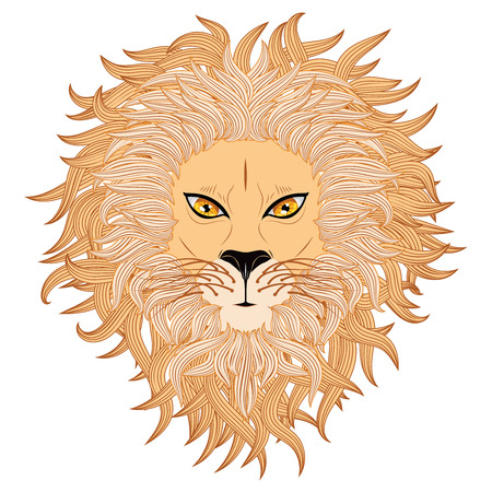 Grunge illustration of a male lion face on white background. Vector