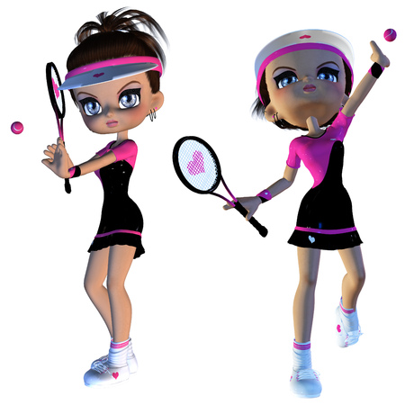 dinky: Digitally rendered illustration of a cartoon female tennis player on white background. Stock Photo