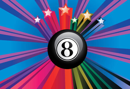 Black eight billiard ball on colorful background with rays. Vector