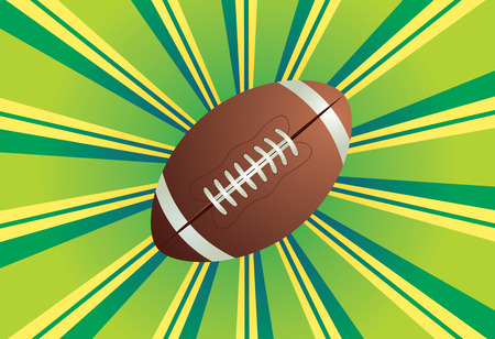 rugger: American football, rugby ball on colorful background with rays.