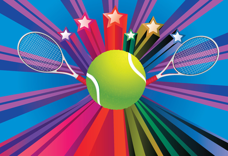 Colorful background with rays and tennis ball with racket over it. Vector