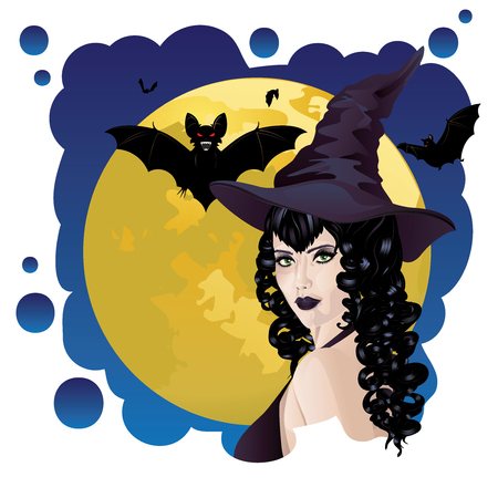 black haired: Halloween background with black haired witch and bats silhouettes. Illustration