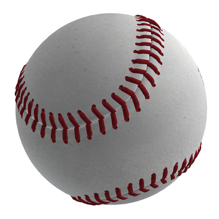 outfielders: Digitally rendered illustration of a baseball ball on white background.