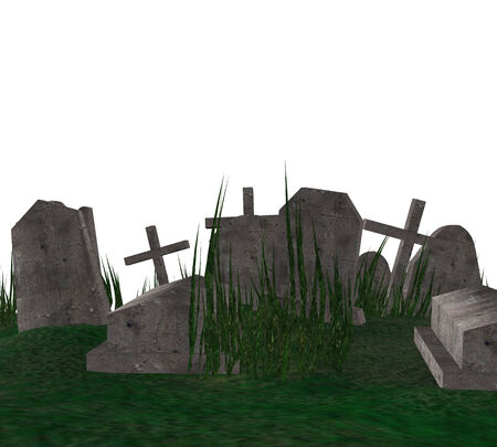 Digitally rendered illustration of an old cemetery with grass.