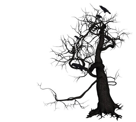 Digitally rendered illustration of a crows on tree. illustration