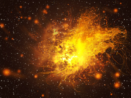 Big exploding in the space, abstract science background.