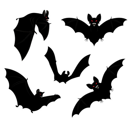 Set of black halloween bats silhouettes with red eyes.