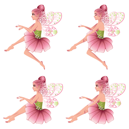 Cute cartoon fairy with pink hair in flower dress.