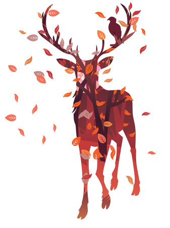 Silhouette of a deer with forest inside on white background. Vector