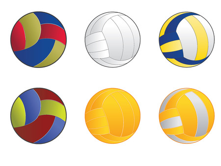 Set of cartoon volleyball balls icons in different colors. Vector