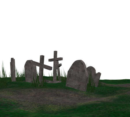 sepulcher: Digitally rendered illustration of an old cemetery with grass.