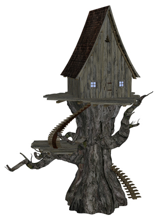 dilapidated: Digitally rendered illustration of an old witch house on big tree. Stock Photo