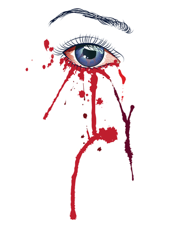 infected: Violet female eye with blood, ebola virus infected. Illustration