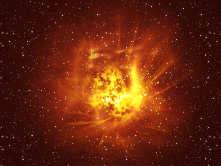 big bang theory: Big exploding in the space, abstract science background.